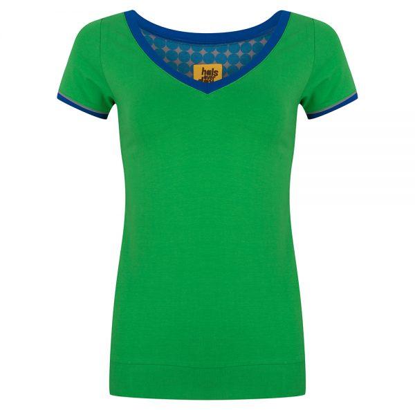 Shirt Groen V-Hals door Halsoverkop