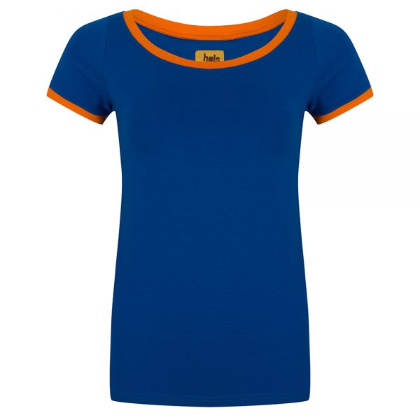 Shirt blauw oranje biezen