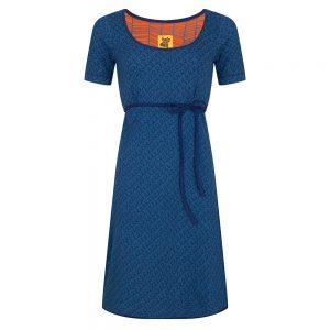 #105 Jurk A-lijn Krullen blauw