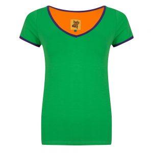 #132 Shirt groen met paarse biezen