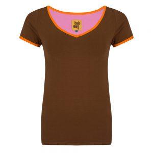 #133 Shirt bruin met oranje biezen