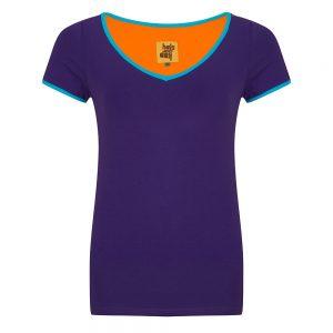 #134 Shirt paars met blauwe biezen
