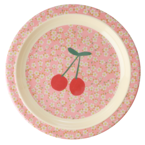 MELAMINE KIDS PLATE - SMALL FLOWERS AND CHERRY PRINT