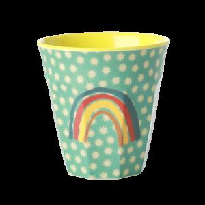 MEDIUM MELAMINE CUP - RAINBOW AND STARS PRINT