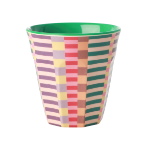 MEDIUM MELAMINE CUP - SUMMER STRIPES PRINT