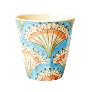 MEDIUM MELAMINE CUP - FLOWER FAN PRINT rice