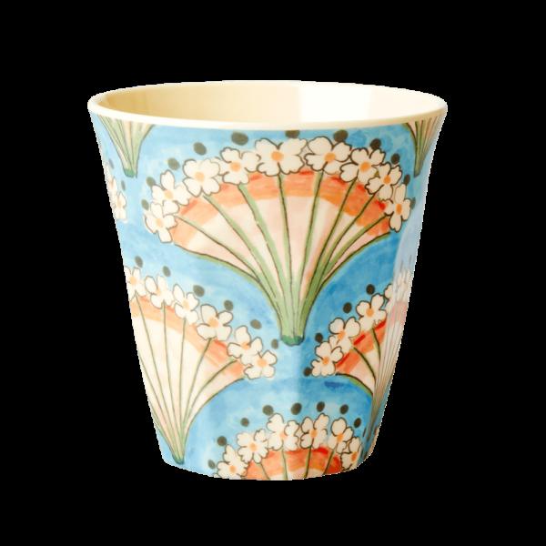 MEDIUM MELAMINE CUP - FLOWER FAN PRINT rice