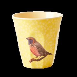 Vintage bird beker RICE geel melamine