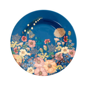 ROUND MELAMINE LUNCH PLATE - FLOWER COLLAGE PRINT