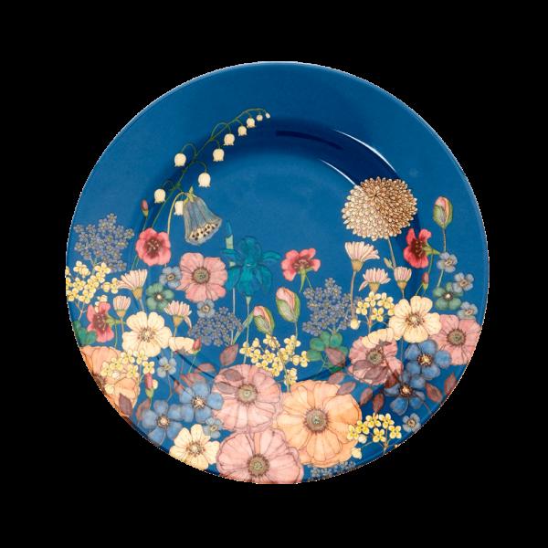 ROUND MELAMINE LUNCH PLATE - FLOWER COLLAGE PRINT