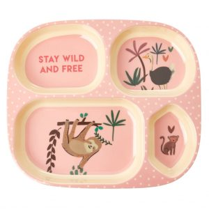 RICE: Melamine Kids 4 Room Plate - Jungle Animals Print