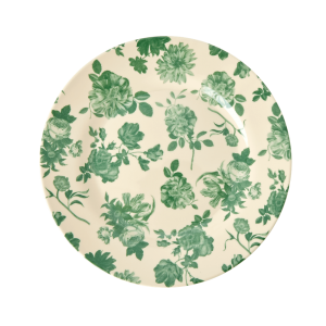 RICE: Round Melamine Side Plate - Green Rose Print