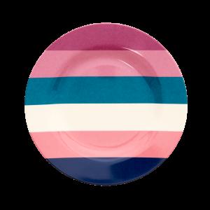 RICE: Round Melamine Lunch Plate - Stripes Print