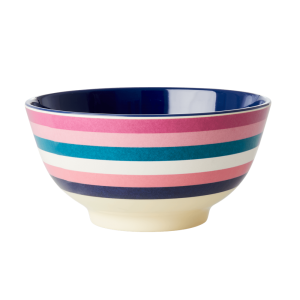 RICE: Medium Melamine Bowl - Stripes Print