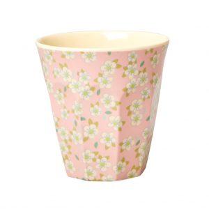 RICE: Medium Melamine beker met kleine bloemen print roze