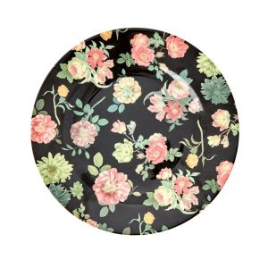 RICE: Round Melamine Side Plate - Dark Rose Print