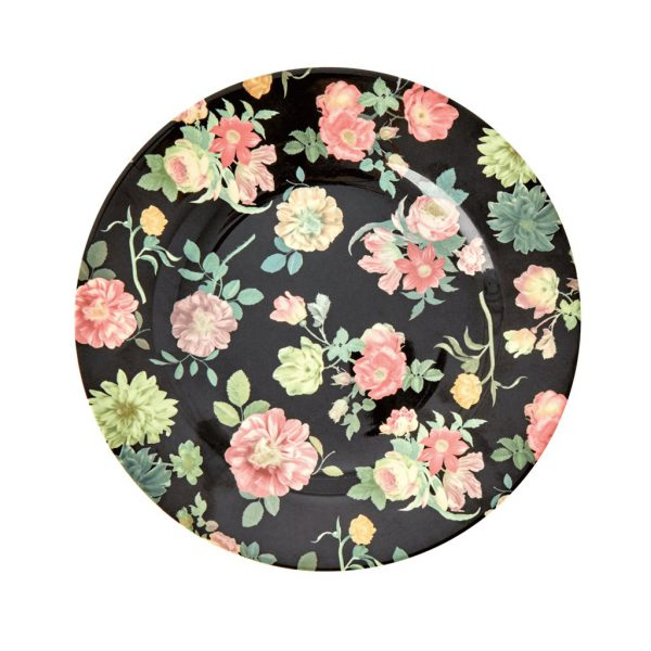 RICE: Round Melamine Side Plate - Dark Rose Print
