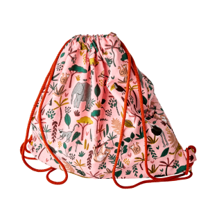 RICE: Cotton Drawstring Bag - Jungle Animals Print