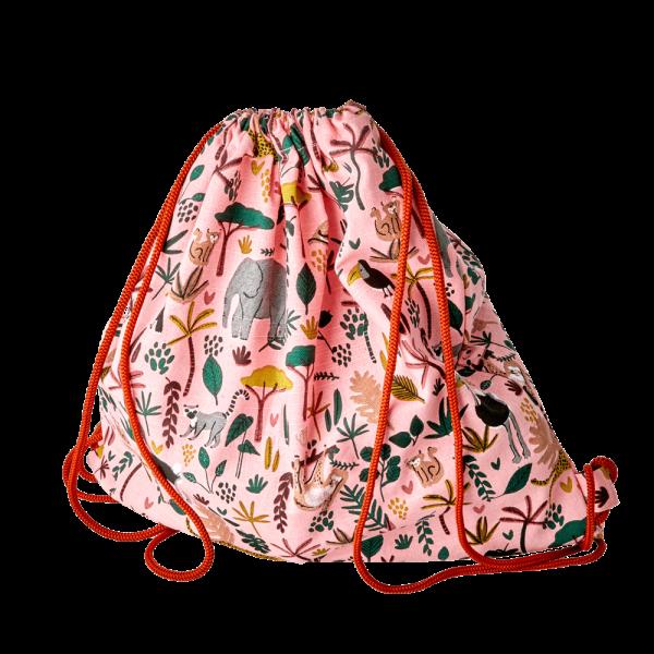 RICE: Cotton Drawstring Bag - Jungle Animals Print