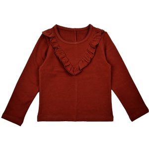 BA*BA WEAR: Ruffle shirt BROWN RUFSHIRT/BBROWN/W20 Eenvoudige, maar super mooie basic! Prachtige bruine kleur die gemakkelijk te combineren is! 92% BIO katoen | 8% elastan