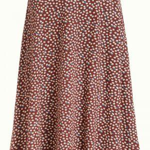 King Louie: Sofia Midi Skirt Sevres Midi rok Wijd uitlopend Steekzakken Jersey Stretchstof Bloemenprint Samenstelling 95% viscose (ecovero), 5% elastaan Lengte 65 cm (M)