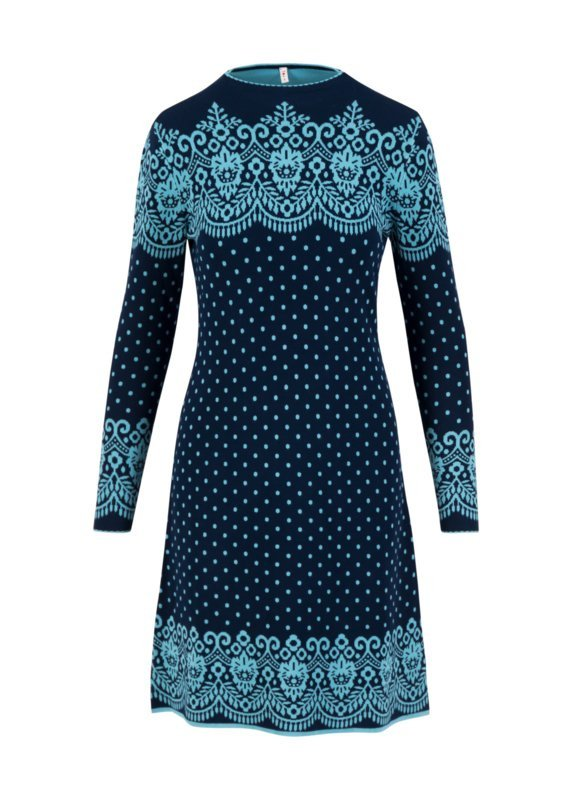 Blutsgeschwister: Stricklizzi dress bonnie blue Wat een prachtige jurk, in een heerlijke print. Viscose 70% | Nylon 30%