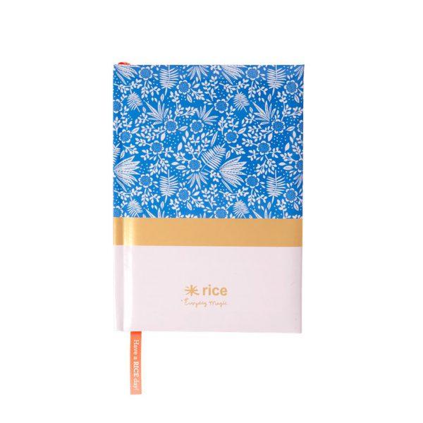 RICE: A5 Aantekeningen boek - Blue Fern and Flower Print