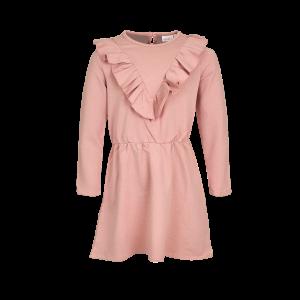 Stoer en schattig! Super leuk jurkje van MINI REBELS. Roze jogging met kleine stipjes/vlekjes in verschillende pastel tinten. Legging of maillot er onder en klaar! 80% katoen | 20% polyester