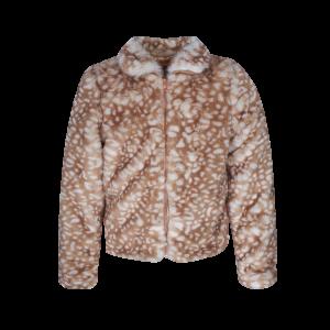 Schattige jas van heerlijk zachte fake fur. Deze BAMBI print, is toch te schattig! Mooi afgewerkt met een gouden rits! 100% POLYESTER