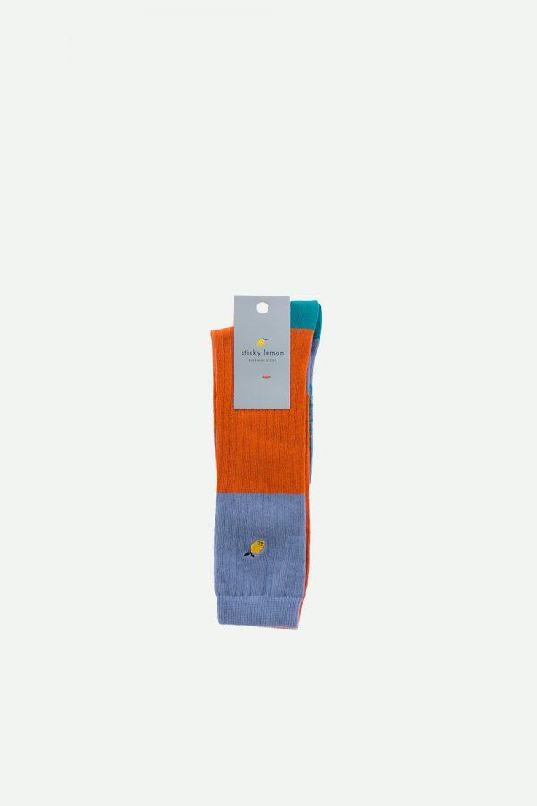Sticky Lemon: Kniekousen |duotone | steel blue + brick