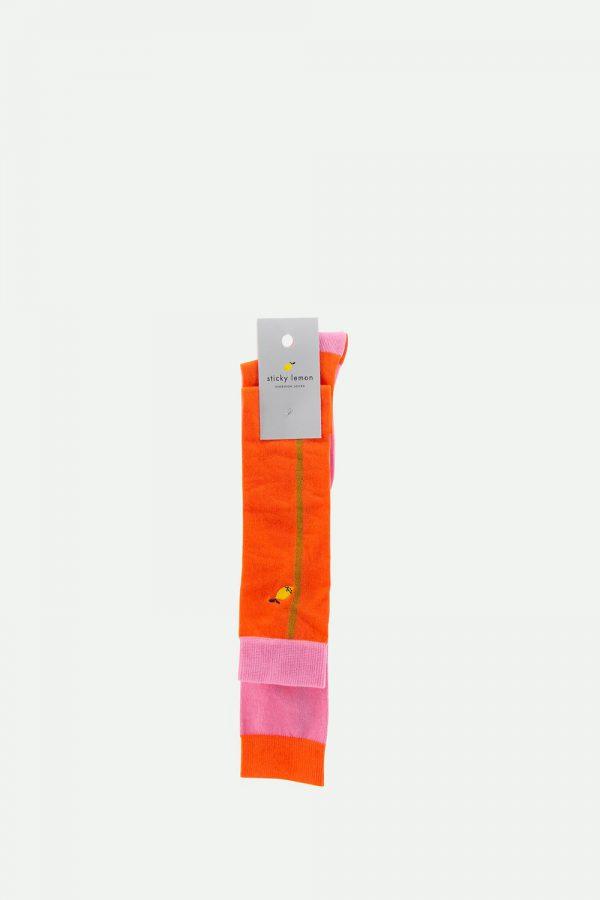 Sticky Lemon: Kniekousen | colourblocking | puff pink + royal orange