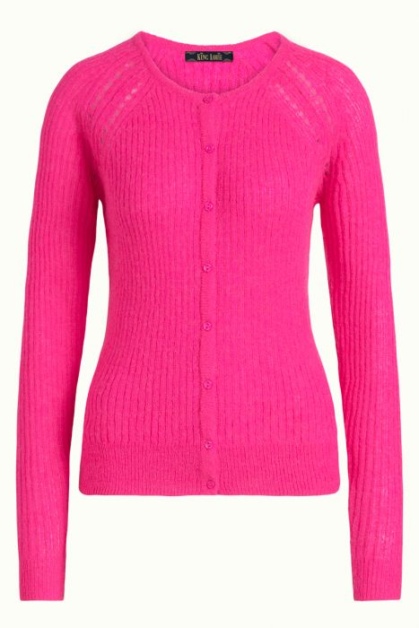 Cardi Roundneck Fluffy neon pink