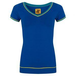 Heerlijk strak basis shirt. Mooie V-hals met gele piping. Wat een mooi accent! 95% katoen | 5% elastan
