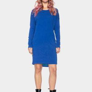 ATO Berlin: Blauwe jogging jurk Kleid Beate GOTS CO 27/048 SURF Blauwe jogging jurk met lange mouwen. Super fijn model. Zit niet strak, heerlijk! Leuk met een legging of hele strakke jeans bijvoorbeeld. 100% katoen | GOTS gecertificeerd