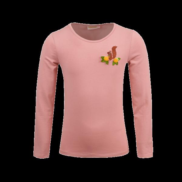 Someone: BAMBI-SG-03-A_LIGHT-PINK Lekker zacht shirt van SOMEONE. Licht roze met een schattige eekhoorn en glitters. 95% katoen | 5% elastan
