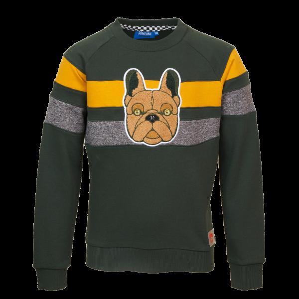 SOMEONE: Sweater CHIEN groen CHIEN-SB-16-C_DARK-GREEN