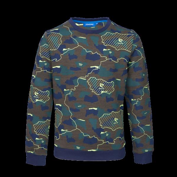 Stoere sweater van SOMEONE. Heerlijk zacht van binnen, niet te dik. Mooie all-over print in super toffe kleuren. 80% katoen | 20% polyester