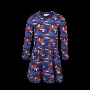 Someone: Jurk MINNIE-SG-52-A_NAVY Jurk van wat dikkere jersey. Mooie all-over print in super toffe kleuren! Lange mouwen en een elastiek in de taille. Daardoor rimpelt het rokje en kun je heerlijk zwieren! 95% katoen | 5% elastan