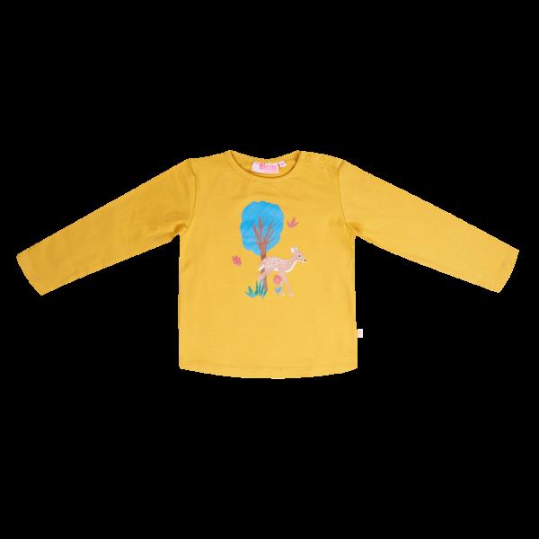 Someone: Shirt RIBBYBA oker Shirtje met schattige opdruk van een hertje. 95% katoen   5% elastan