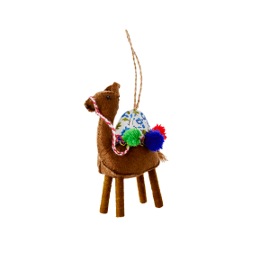 Funky camel-shaped Christmas ornament. Comes in a lovely brown color and will add that extra sparkle to your tree