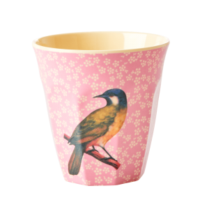 RICE: Medium Melamine Beker Vintage Vogel roze