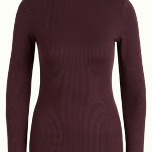 King Louie: Rollneck Top Uni Rib Tencel Grape Red