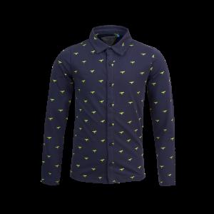 Blauwe, jersey blouse met all over print van dino's. Te leuk! 100% katoen