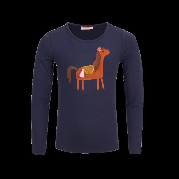 Someone: Shirt MERYL-SG-03-A_NAVY Fijne long sleeve van jersey met super schattige paard applicatie. 95% katoen | 5% elastan