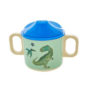 BABCU-2HDIN RICE: Melamine Baby Cup - Green - Dinosaurs Print