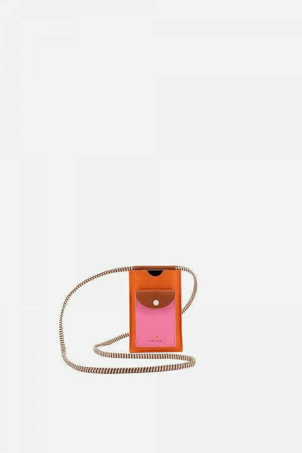 Sticky Lemon: Phone pouch | xl | carrot orange + syrup brown + bubbly pink