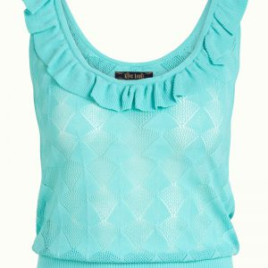 King Louie: Top Ruffle Camisole Moonstone Emerald Blue