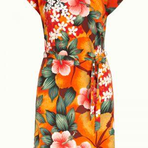 Hippe jersey tuniek jurk met oranje bloemen print van King Louie.