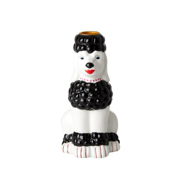 RICE: Poodle Ceramic Candle Holder - Black - Choose Happy