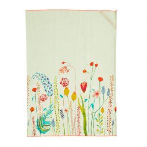 Rice: Katoenen theedoek - Sage Green - Summer Flowers Print
